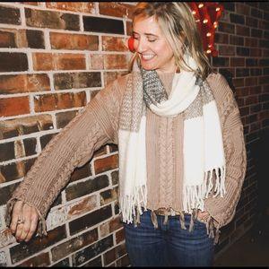 Mocha Frayed Sweater